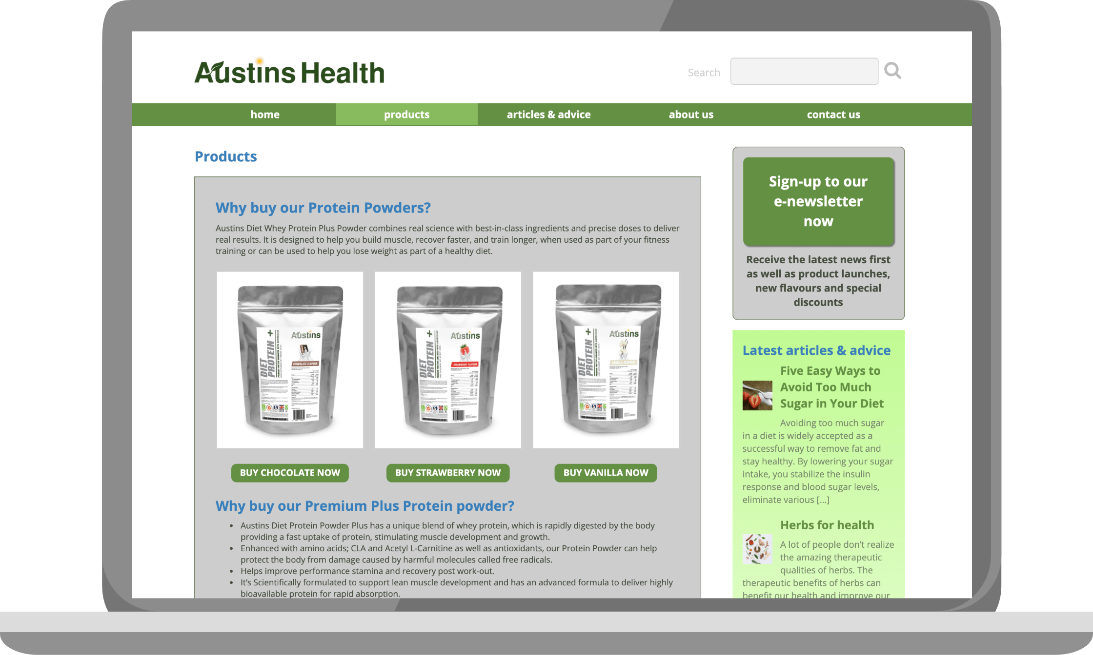Products page of Austins Health on a laptop
