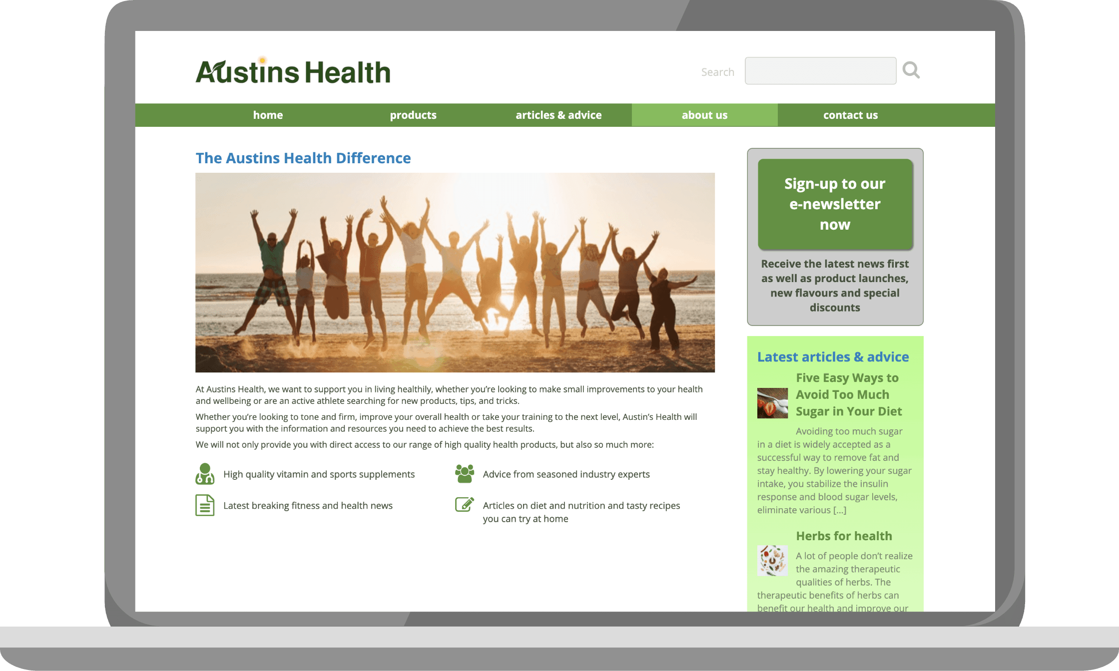 Austins Health About us page on a laptop