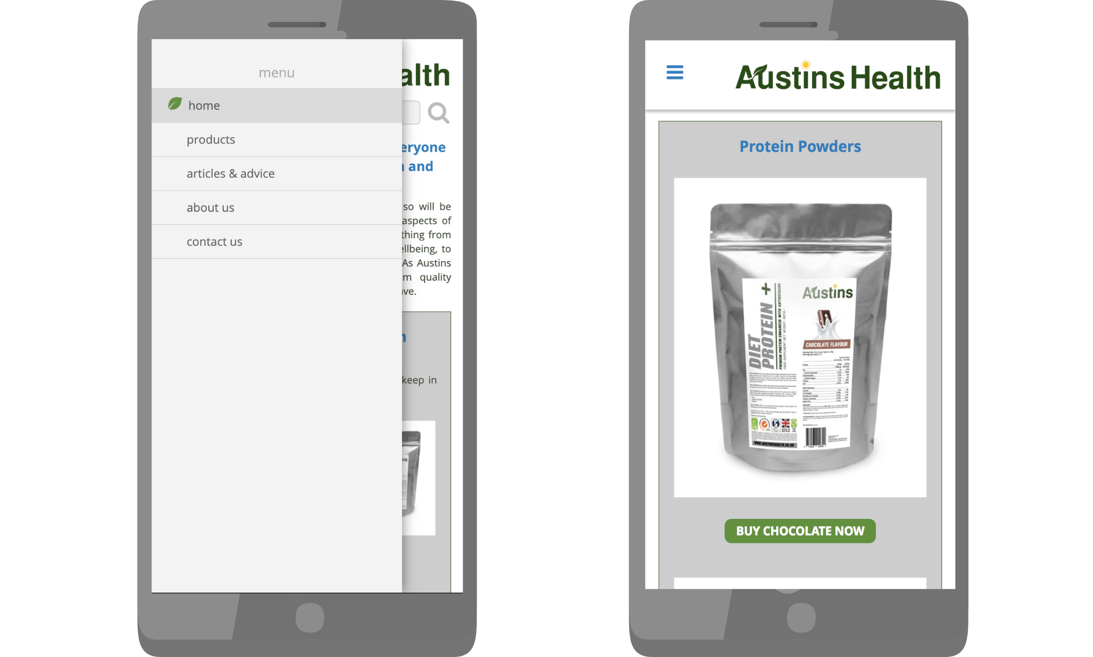Austins health website viewed on a smart phone