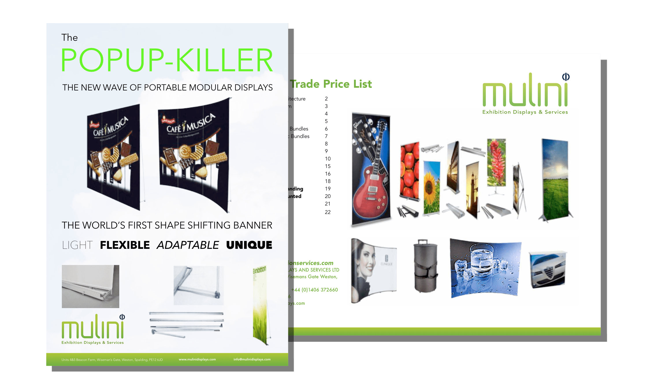 Front of Mulini flyer, and cover of price list