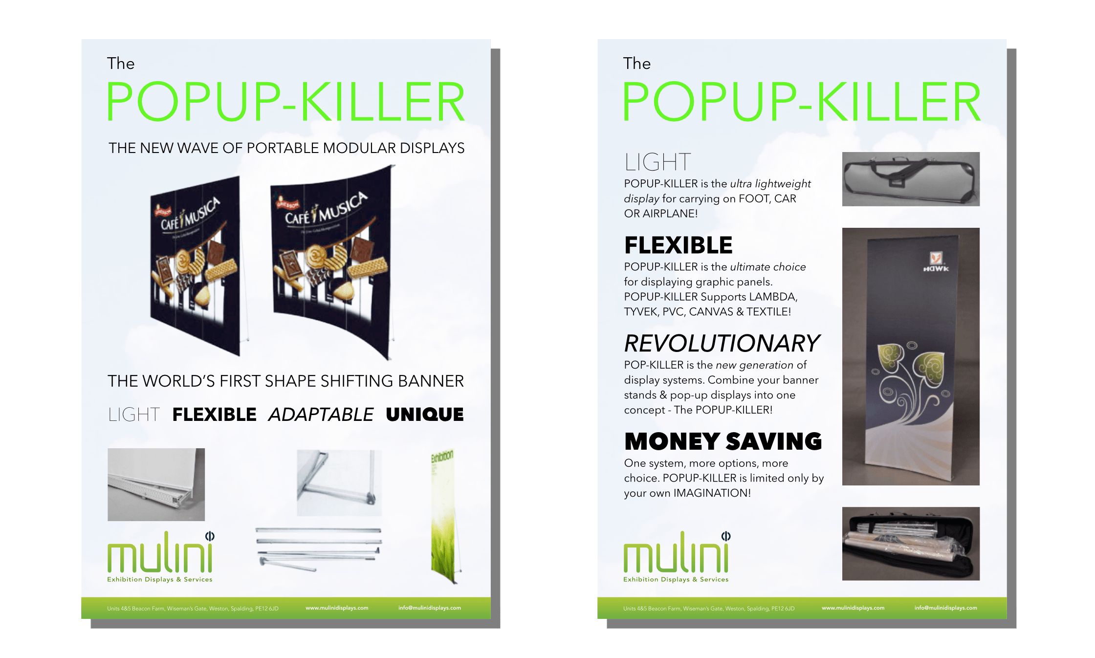 Both sides of flyer for Mulini Exhibtions