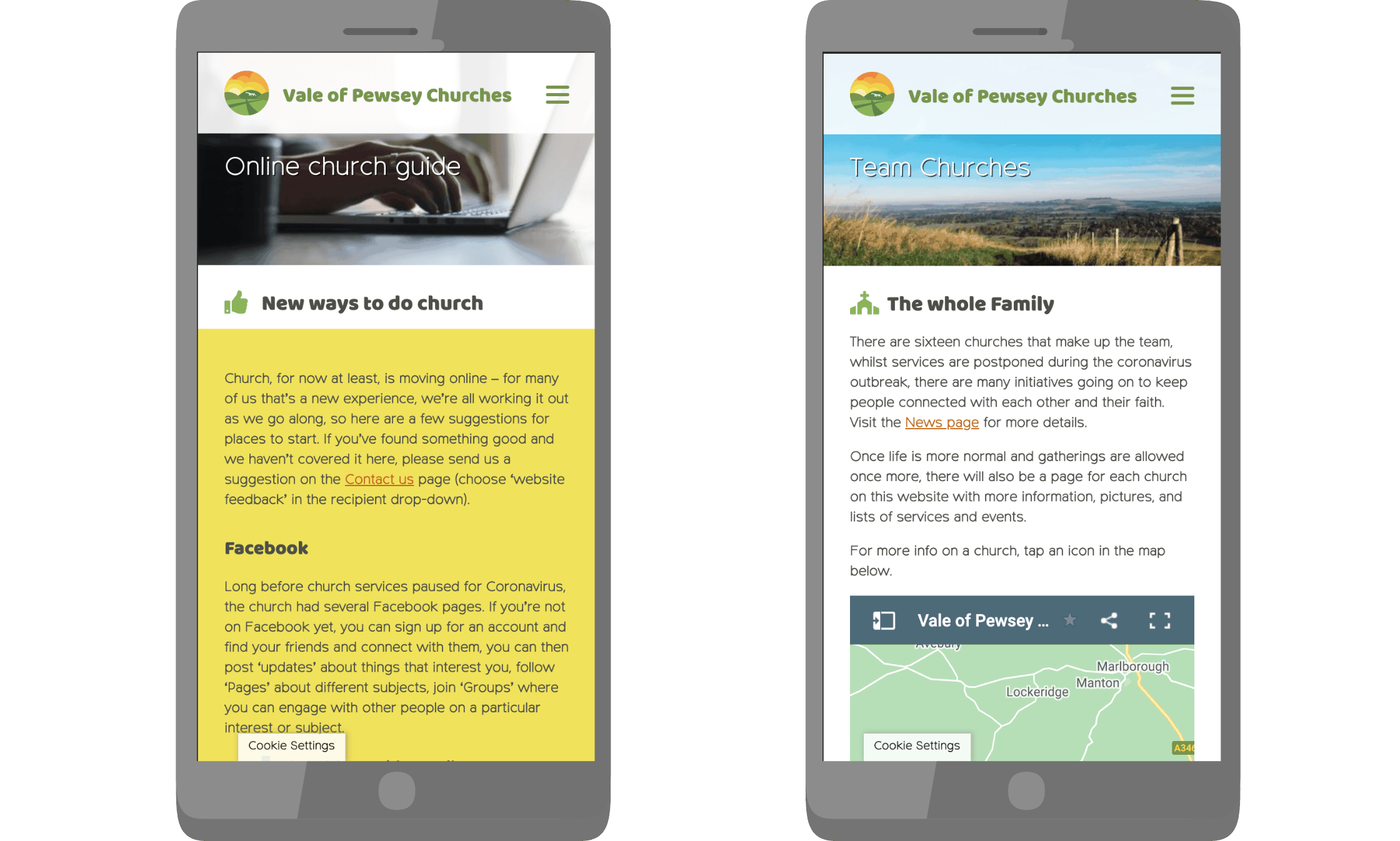 Vale of Pewsey website 'Online Guide' and 'Map' pages on smartphones